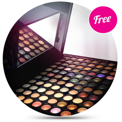 Free professional makeup palette with enrollment in an online makeup class