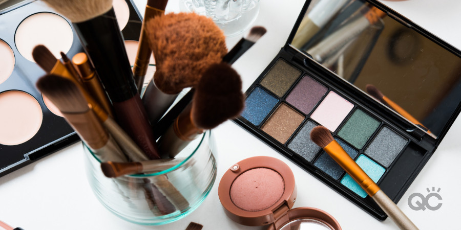 makeup products in a professional makeup kit