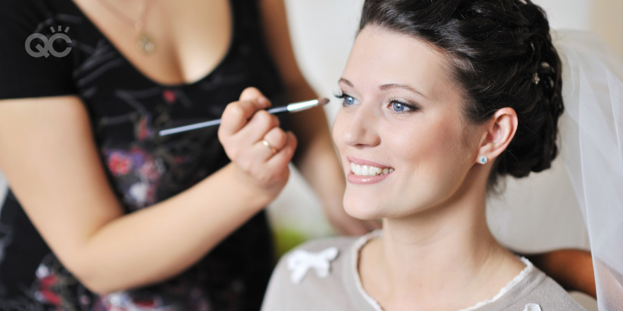 bridal makeup course artist working on a bride for a wedding