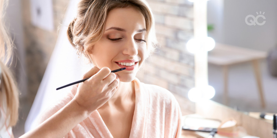 bridal makeup application by a professional makeup artist