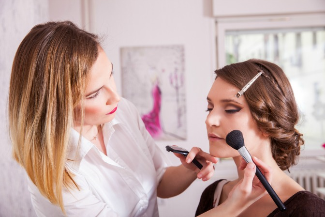 Shadowing professional makeup artists for business experience