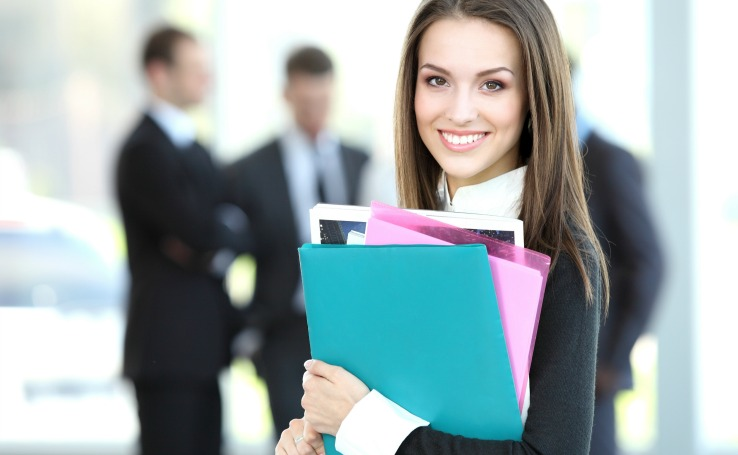 Business Woman Holding Folders