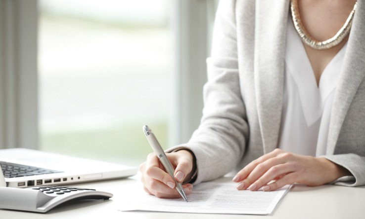 Lawyer Writing a Contract