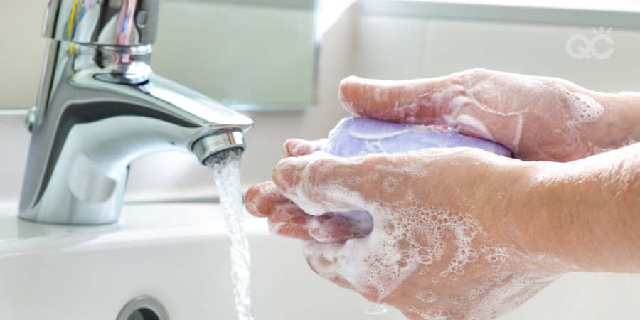 washing hands lather with soap for certified makeup artist hygiene