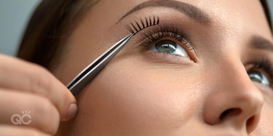 eyelashes - cut and measured for makeup job eyeshape