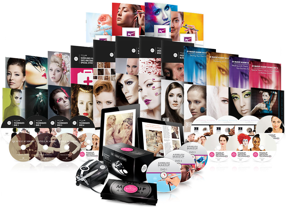 QC Expert Collection: Master Makeup Artistry Certification Course, Pro Makeup Training Courses, Special effects makeup online courses. Airbrush makeup certification classes, fashion styling beauty courses