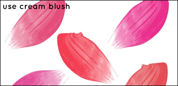 Cream blush makeup for mature skin
