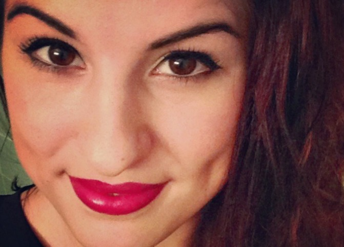 Kyla Lardie with pink lipstick