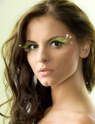 Girl wearing feathered eyelashes