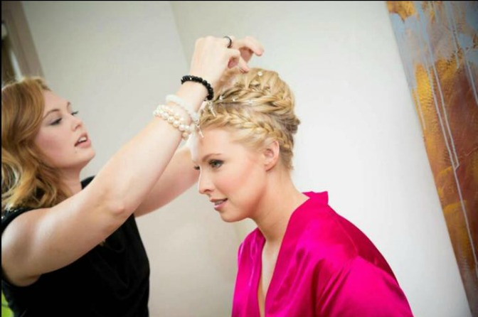 Candy Stayte doing a bride's hair