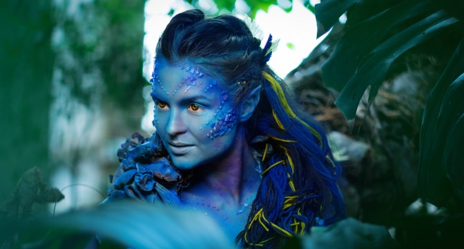 Actress made up as Avatar character