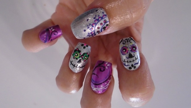 Day of the Dead nail art by Isabelle Gagne