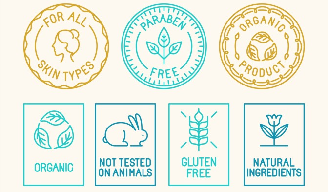 Symbols for organic, cruelty free, gluten free, and natural makeup