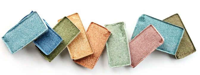 A rainbow of pressed powder eye shadows