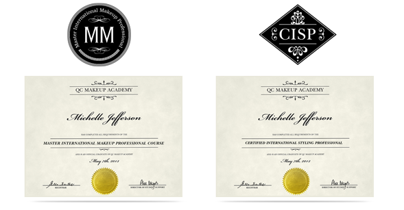 MIMP: Professional Master Makeup Artist Certification and CISP: Certified International Styling Professional