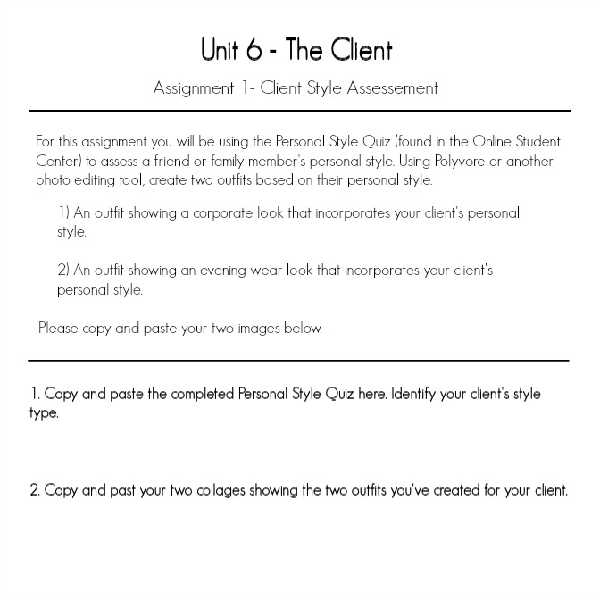 Unit 6, Assignment 1—The Client: Client Style Assessment
