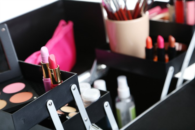 Makeup Application Workspace Organized Beauty Products