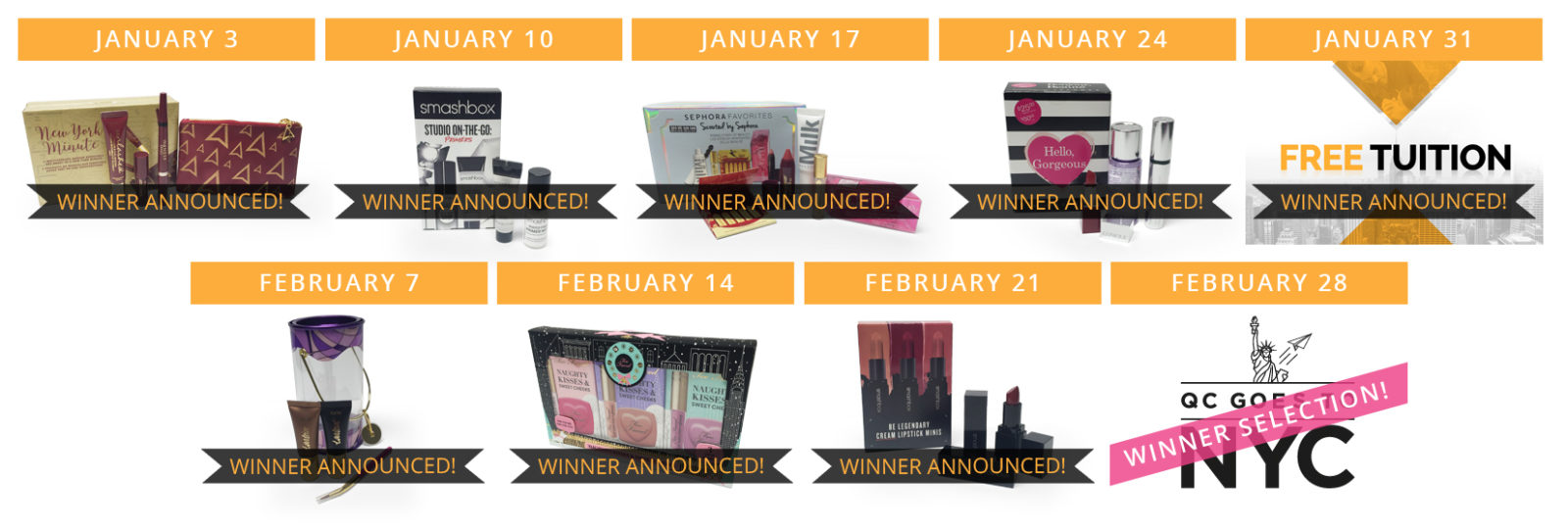QC Makeup Academy Sweepstakes Free Prize Collage