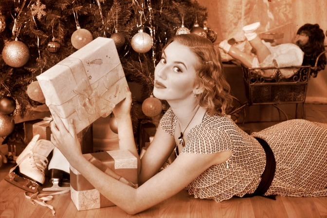Retro Christmas photograph with vintage style for women