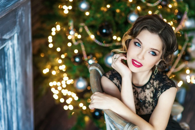 Retro fashion for the holidays with cranberry lipstick and holiday updo