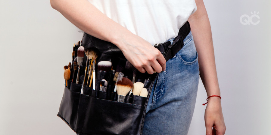 certified makeup artist with portable professional makeup kit
