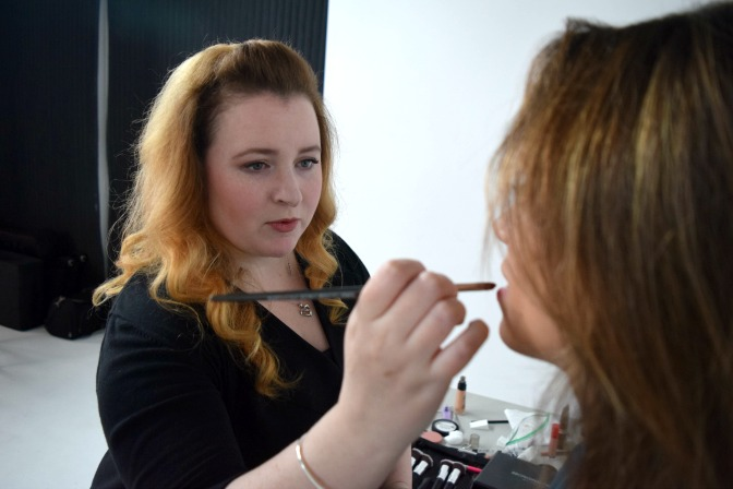 Aspiring makeup artist training with courses