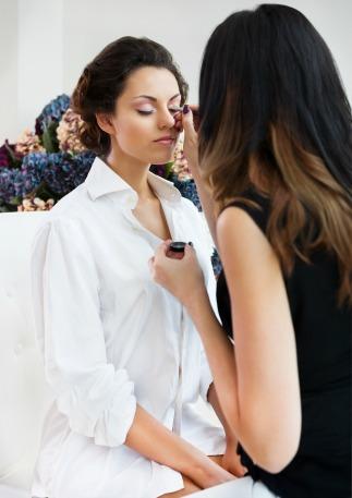 Bridal makeup artist in studio