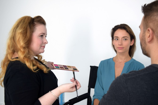 Student training with Celebrity Makeup Artist