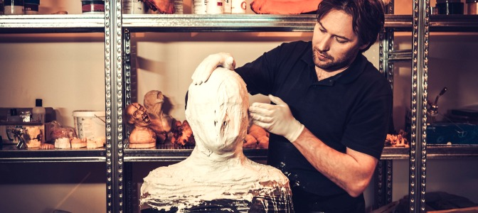 Training special effects makeup artist working with prosthetics