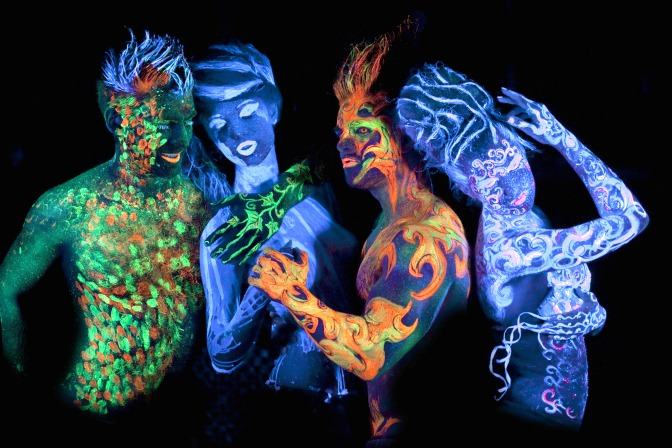 Creating unique glow in the dark airbrush makeup characters