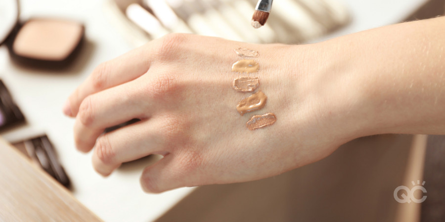 swatches of makeup foundation by a certified makeup artist to color match