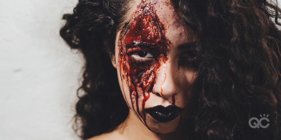 fake blood on model