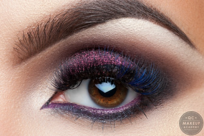 purple smoky eye created by makeup student