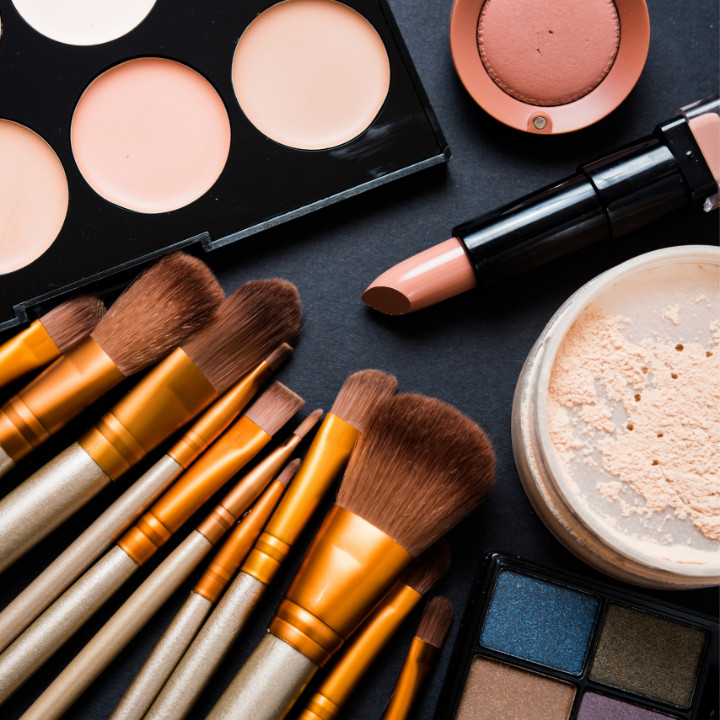 professional makeup kit assembled from drugstore makeup beauty products