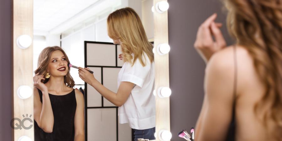 makeup artist working in home studio