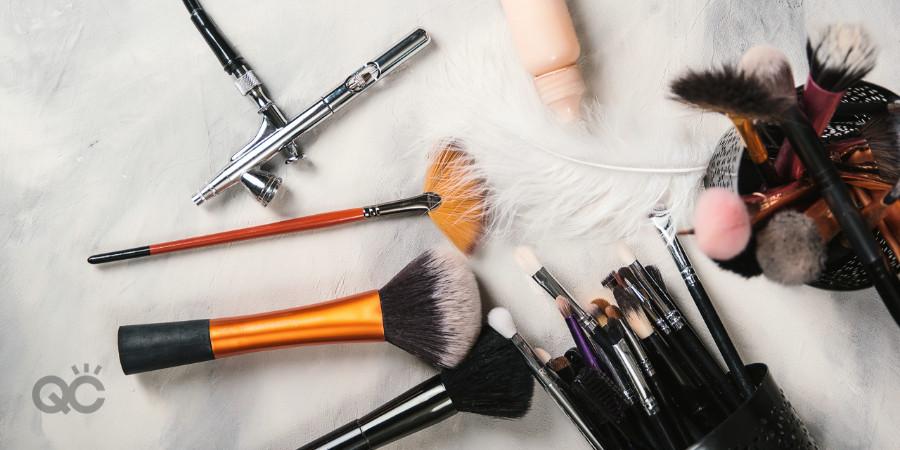 Various makeup artistry tools including airbrush makeup gun for airbrush makeup student
