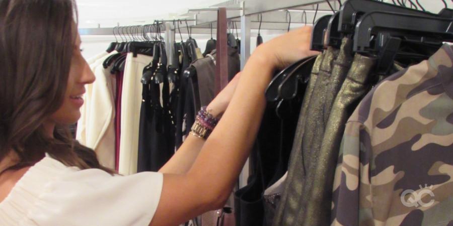 Fashion stylist Mallory Sills sifting through a shy fashion client's closet essentials