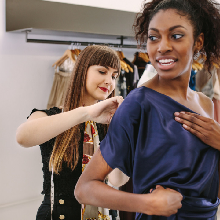 fashion styling client being styled by a certified fashion stylist expert