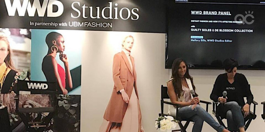 QC makeup academy tutor Mallory Sills speaking as a fashion styling expert on a convention panel