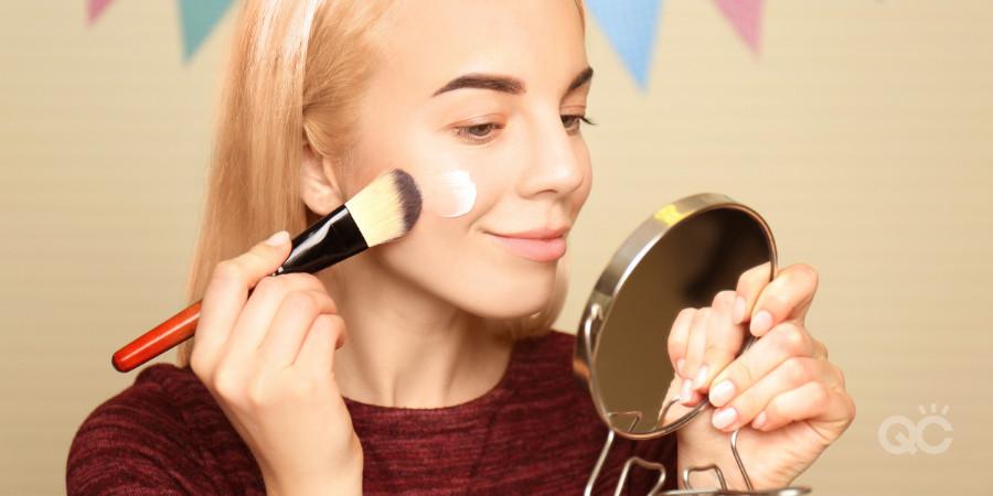 applying makeup primer