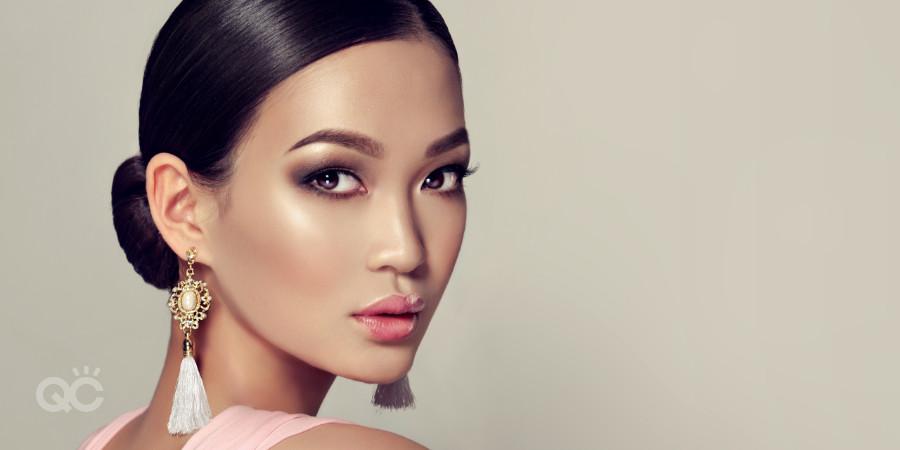 diverse women are makeup clients asian model