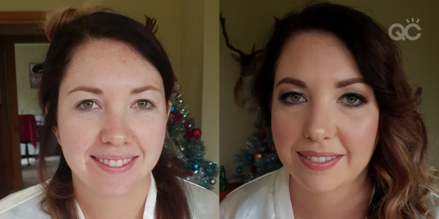 Before and after photos of a makeup client by Izzabelle Tokarski-Paine