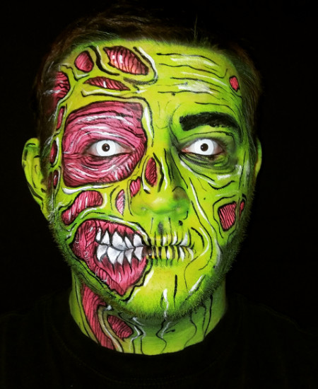 Special effects makeup by Tyler Russell photo of pop art zombie