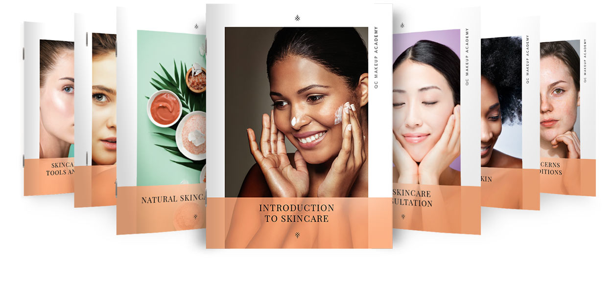Photo of QC's Skincare Course Materials - Books on White Background