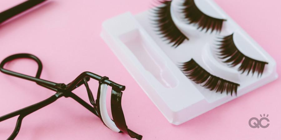false eye lashes and lash curler
