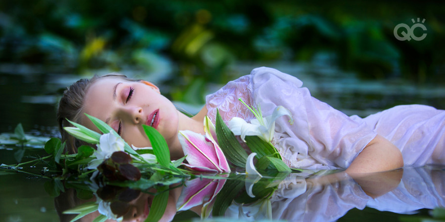 water fairy editorial photoshoot featuring waterproof makeup kit products