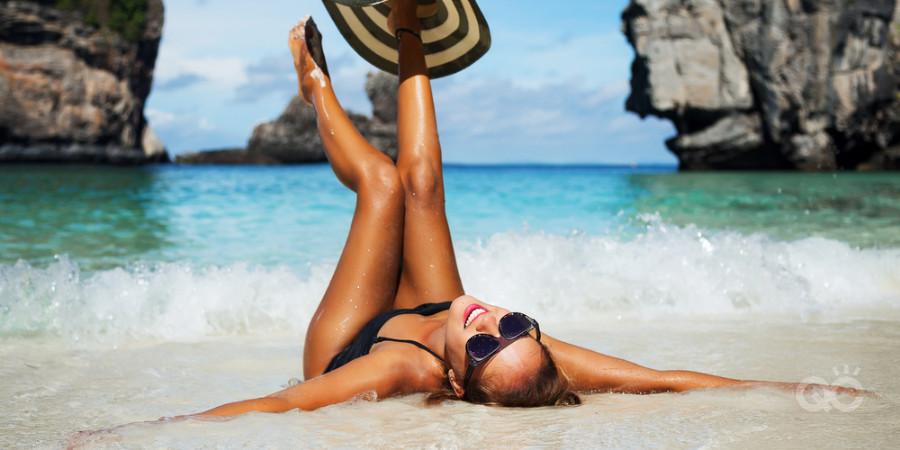 beach model needs sunscreen