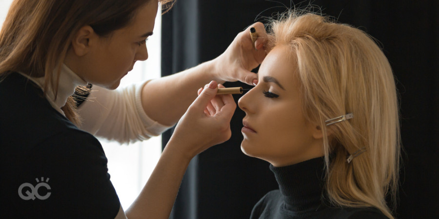 makeup business working on model
