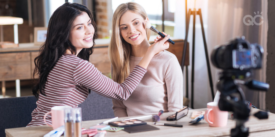 recording session of an online makeup academy
