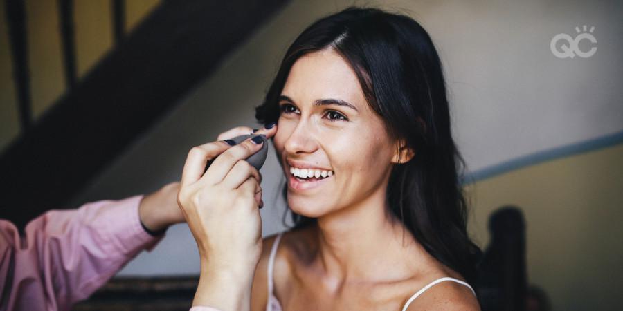 happy makeup artist client